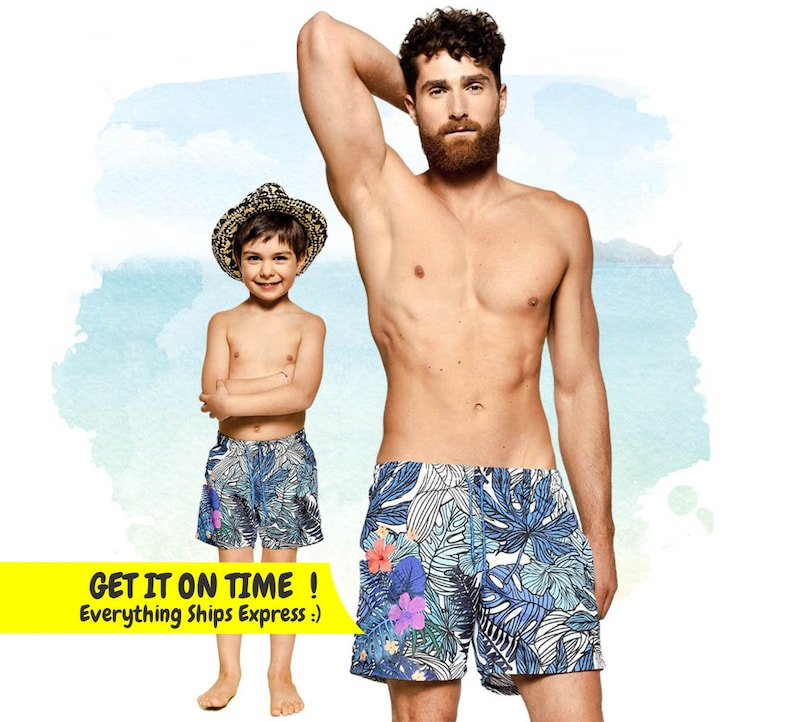Family Matching Clothes Daddy And Me Swimsuit Father Son Swimwear Blue Summer Beachwear Men Baby Kids Outfits Dad Boy Swim Beach Mother & Kids
