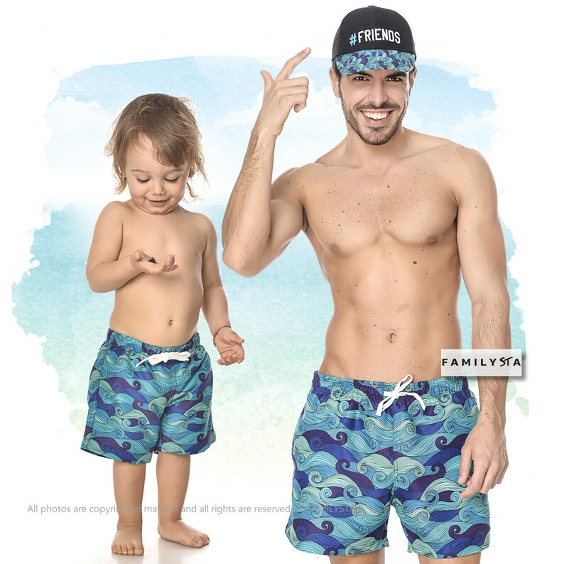 18bbfe0a88 Father And Son Swimwear Kids Swim Trunks Father's Day | Etsy