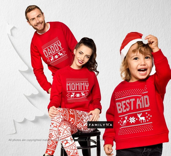 Matching Family Sweaters, Family Christmas Pullover, Red Christmas  Sweaters, Christmas Clothing, Winter Christmas Outfit, Christmas Wear
