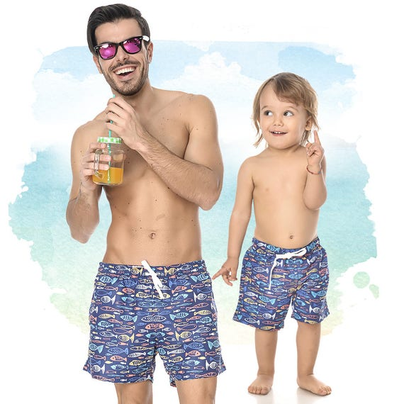 Blue Trunks, Matching Bathing Suit, Boys Shower Trunks, Fathers Gift, Mens Swimwear, Matching Daddy And Me, Plus Size Clothing, Matching Dad by Etsy