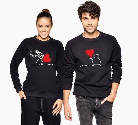 Sweatshirts Set Outfit Clothing Sweatshirts Couple Love Love Tops Matching Matching Love Tops Matching Red Love Tops Love Black q7zzxFwAa