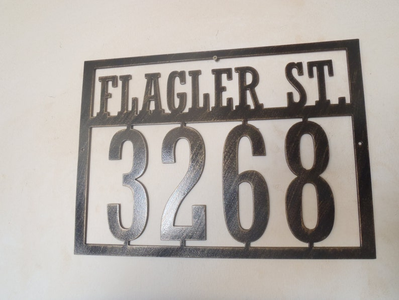 Address Sign With Street Name Any Numbers Metal House Number