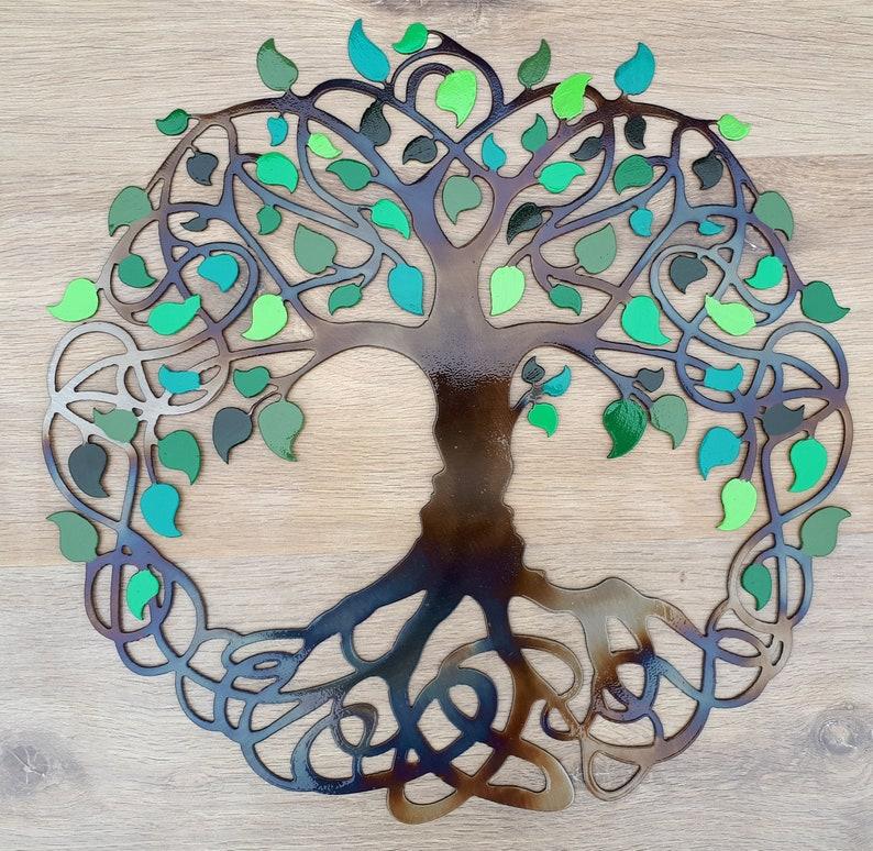 Tree Of Life Celtic Design Green leaves 16 40 cm image 0