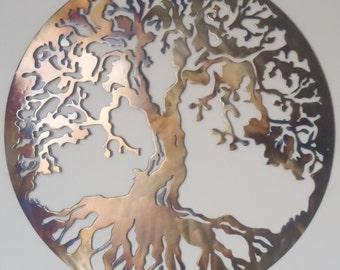 Tree Of Life, Metal Art - HEAT COLORED, 90 cm in Diameter (36 inches)
