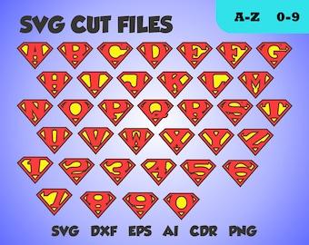 Superman font, perfect cut monogram, letters  SVG cut file, dxf, eps, ai, cdr, png transparent background