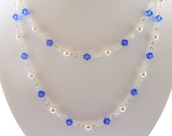 Blue Sapphire Swarovski Crystal Multistrand Necklace, Sapphire Necklace, Blue Swarovski Multistrand Necklace, Blue Multistrand Necklace