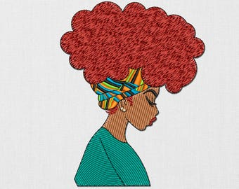 INSTANT DOWNLOAD - African Girl machine  embroidery design. Afro hair. African woman. Boho style. Beautiful girl. Embroidery file