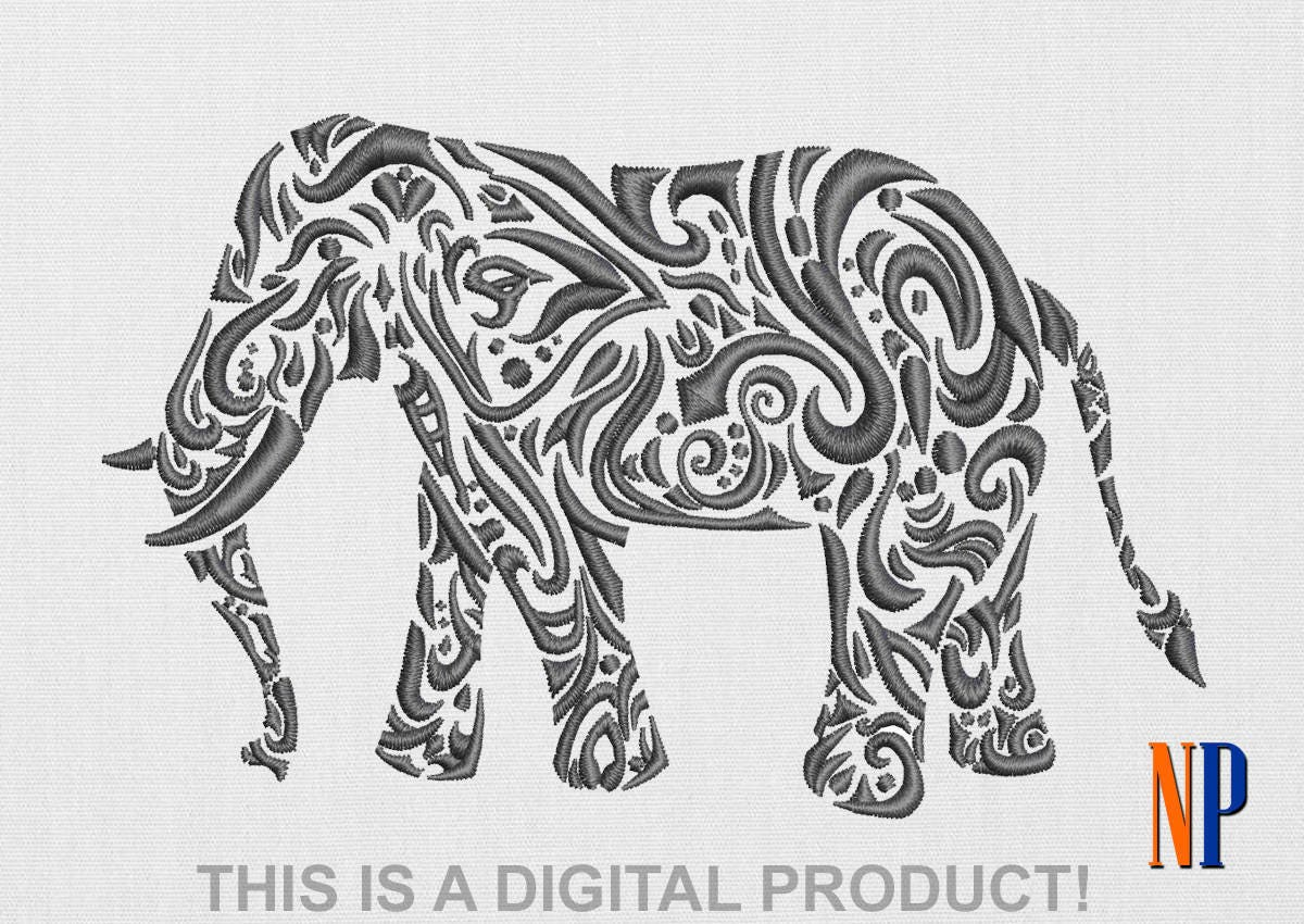 INSTANT DOWNLOAD - Elephant machine embroidery design. Patterned ...