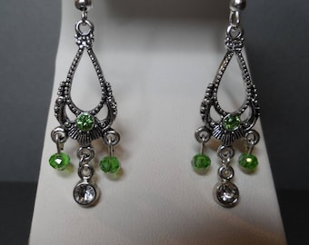 August Birthstone Earrings,Free Shipping,Chandelier August Bicone and Rhinestone in center.Great Gift For Her.