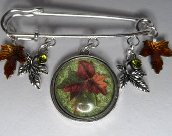 Autumn Kilt Pin, Free Shipping, Photo Charm of Leaves, Enamel Amber And Silver Maple Leaves. Great Gift For Her.