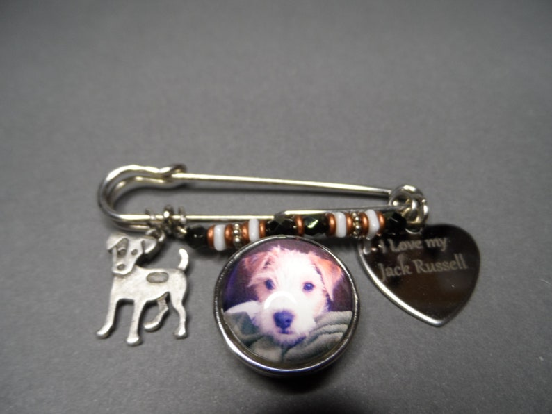 Jack Russell Kilt Pin,Free Shipping,Photo Snap of Jack Russell,Stainless I Love My Jack Russell,Jack Russell Charms,Gift for Dog Lover.