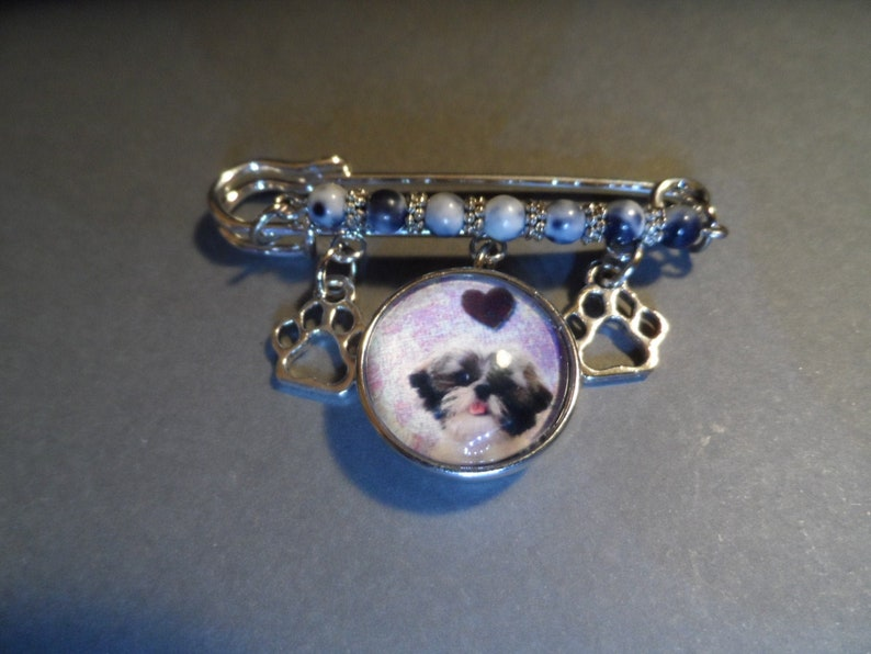 Shih Tzu Kilt Pin,Free Shipping,Photo Snap of Shih Tzu Charm,Paw Charms,Gray White Jasper Beads,Great Gift.