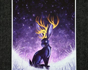 Watchful Jackalope - A4 Giclée Print