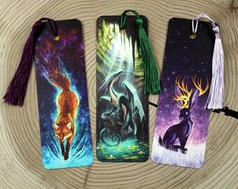 Set of 3 Bookmarks (Fox, Dragon, Jackalope)