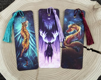Set of 3 Bookmarks (Tiger, Stag, Dragon)
