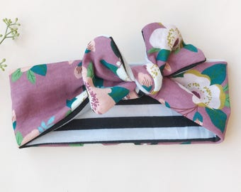 Stripe and Plum Floral Reversible Baby Headwrap
