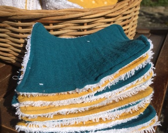 Set of 10 wipes 100% cotton - made in double gauze and sponge - color mix of mustard and teal