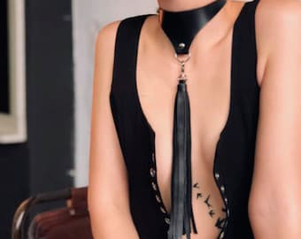 Black Genuine Leather Choker With a Long Tassel