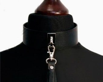 Black Genuine Leather Choker With a Short Tassel