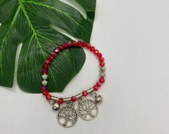 Red & Silver Tree of Life Charm Bracelet