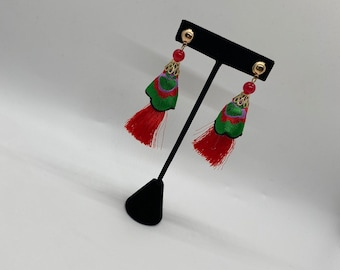 Bloom with Chika Red & Green Fringed Earrings