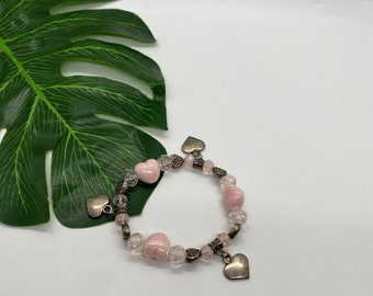 Bloom with Chika Pink Charm Heart Bracelet