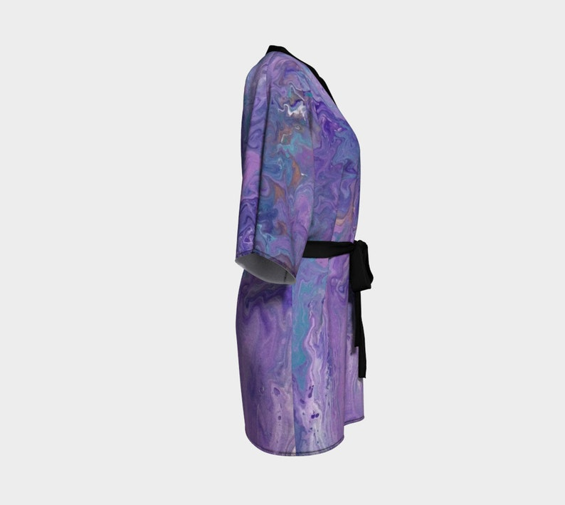 Lilac Coverup Swimsuit Coverup Spa Robe Pour Painting Robe Kimono Robe Abstract Bridesmaid Robe Bride Robe Lilac Ocean Artwork