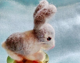 Needle felted Rabbit. Needle felted Animal. Needle felted soft sculpture.ooak