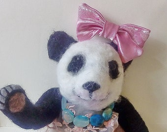 Needle felted panda. Needle felted Animal. Needle felted soft sculpture.ooak