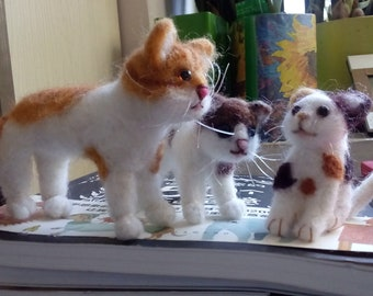 Three needle felted cats. Needle felted animals, soft sculpture