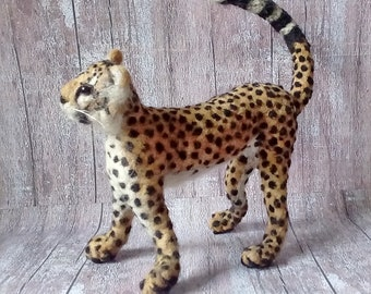 Needle felted Animal Leopard. Needle felted soft sculpture.ooak