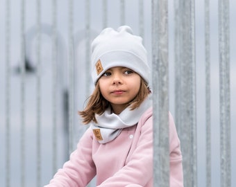 Light gray cap with tube scarf, winter children's cap ,knitted boy's cap, winter set for girls.