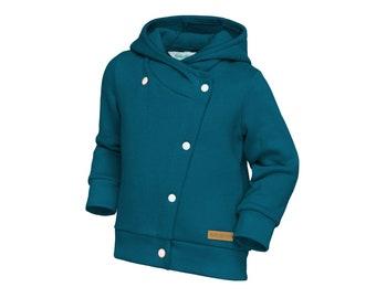 Boy's jacket, walkjacke, cotton spring sweatshirt, blue hoodie, blue marine color girls blouse.