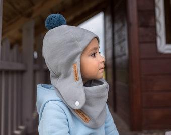 Children's gray pilot cap, children's winter cap with a pompom, girls' winter cap, boys' warm cap.