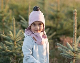 Light Pink cap with a pompom, girls' winter cap with scarf, girl's winter pilot cap with a pompom.