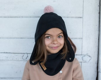 Children's winter pilot cap with a pompom, girls' winter cap, boys' warm cap.