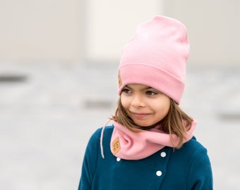 Girl's winter cap with tube scarf - peony, knitted girl's cap, winter set for girls, pink baby cap.