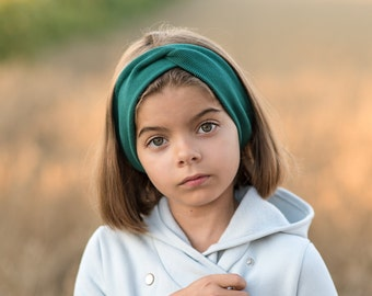 Children bottle green autumn headband, girl's gray elastic baby spring headband, cotton knitted band