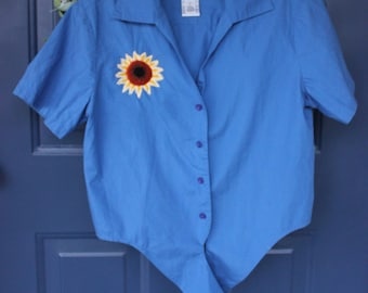Upcycled Hand Embroidered Daisy Top- S