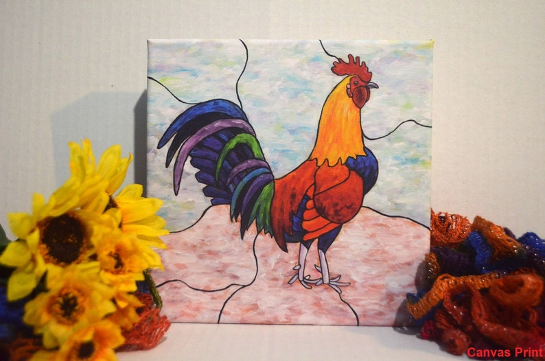 Rooster Painting Print Rooster Art Kitchen Decor Colorful image 0
