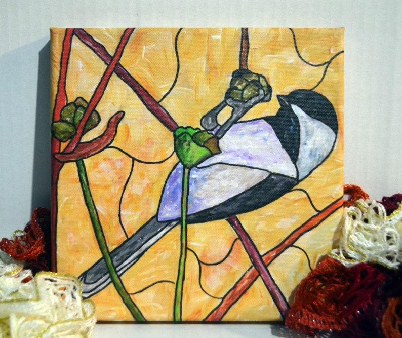 Chickadee Acrylic Art Stained Glass Painting Bird Art image 0