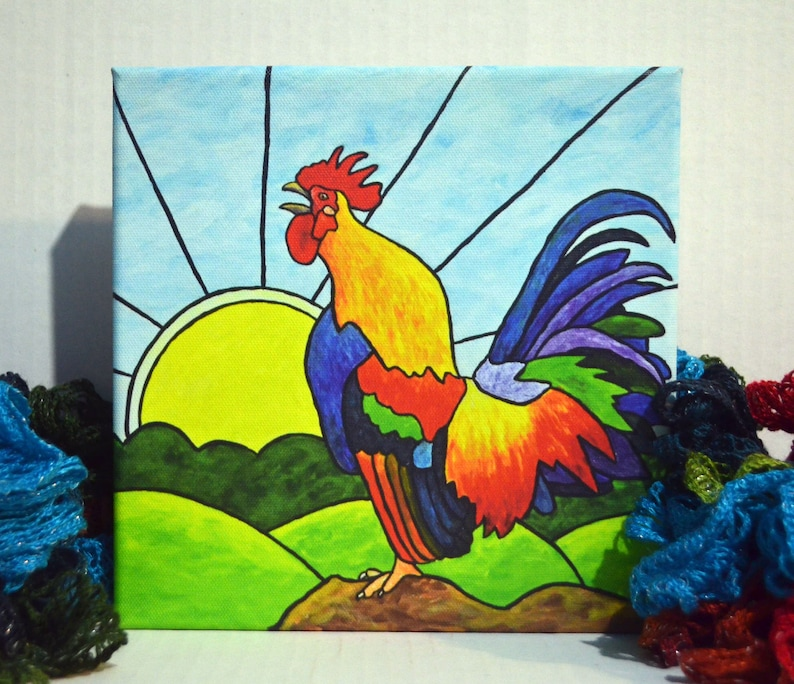 Rooster Art Rooster Canvas Print Rooster Crowing Colorful image 0