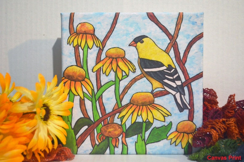 Goldfinch Acrylic Painting Stained Glass Art Yellow Flowers image 0