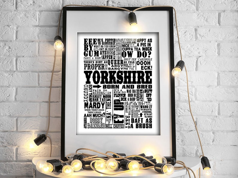 Yorkshire Traditional Sayings Giclee Print/Canvas, Boyfriend gift, husband  gift, gifts for men, gifts for women, girlfriend gift