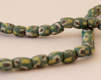 Vintage Green, White, Brown and Yellow Barrel African Sandcast Beads - OASC 100