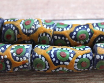 African Sandcast Beads from Ghana, Orange with Designs - ASC-T-045