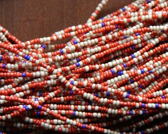 Vintage Coral Red, Taupe, and Bright Blue Seed Beads - SEED 219
