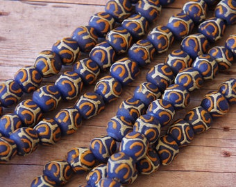 Denim Blue Irregular Round African Sandcast Beads - ASC 192