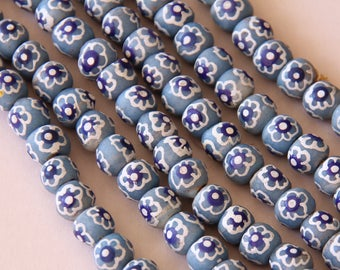 Light Blue Flowered Round African Sandcast Beads - ASC 190