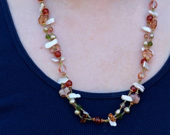 Beaded Pearl and Glass Necklace - FJ 66